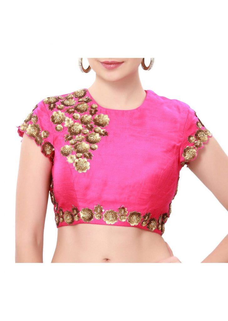 Sequinned Pink Embroidered Blouse