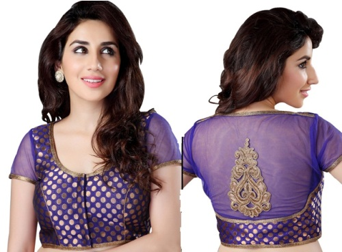 Violet brocade traditional celebrity blouse design